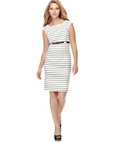 Calvin Klein Dress, striped with belt- macys